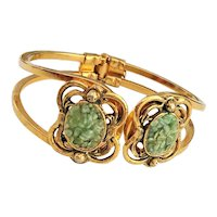 Hinged  Goldtone Bracelet with Pretty Green Stones