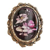 Romantic Flowers Painted on Reverse Glass Design Brooch