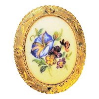 Pastel Color Painted Flowers on Ceramic Pin Brooch with Pretty Goldtone Frame