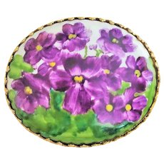 SALE - Hand Painted Purple Violets on Ceramic Pin Brooch with Goldtone Frame
