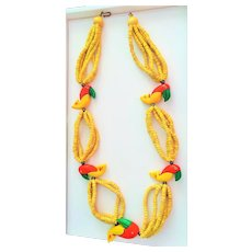 Vintage 1970's Painted Wood Parrot Multi Strand Bead Necklace made in Philippines