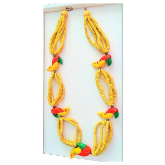 Vintage 1970's Bright Wood Parrot Multi Strand Bead Necklace made in Philippines