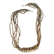 Fun Multi Strand Necklace with Brass Rings