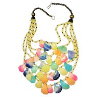 Colorful Shell Multi Strand Necklace with Brass Bead Accents REDUCED