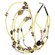 Pretty Multi Strand Necklace with Polished Stone Accents - REDUCED