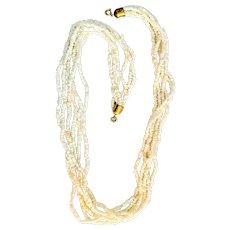 Very Nice White Glass Beaded Multi Strand Necklace