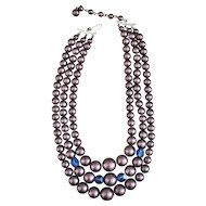 JAPAN signed Multi Strand Necklace with Glass Bead Accents - REDUCED