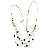 Very Elegant Goldtone Necklace with Black Beaded Accents - SALE