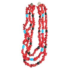 Beautiful Red Stone Multi Strand Necklace with Turquoise and Black Color Beads