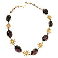 Pretty Purple Glass and Goldtone Necklace with Faux Pearl Flower Accents - SALE