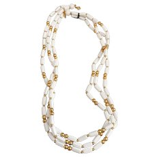 TRIFARI - White and Goldtone Beaded Multi Strand Necklace with Tag