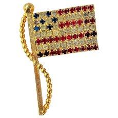 Vintage Rhinestone American Flag Pin Brooch