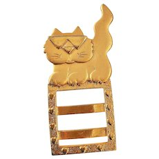 JJ  signed Cute Cool Cat Pin Brooch Picture Holder