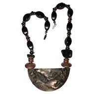 Vintage Unique Copper Raised Leopard Necklace
