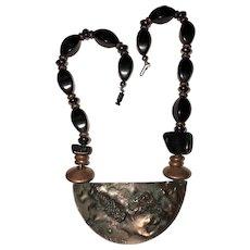 SALE - Vintage Unique Copper Raised Leopard Necklace