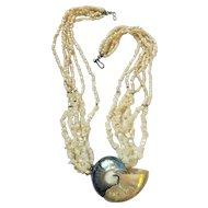 Stunning Vintage Large Shell Multi Strand Mother of Pearl Necklace