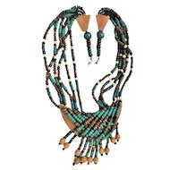 50% OFF - Wood and Teal Colorful  Beaded Necklace