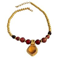 Vintage MONET Goldtone with Earth tone Beaded Necklace