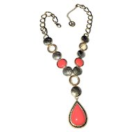 CROWN TRIFARI  Pretty Coral Color Teardrop Necklace - REDUCED