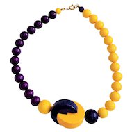 Vintage Bright Yellow with Purple and Blue Beaded Necklace