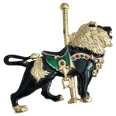 Vintage Black and Goldtone Carousel Lion Pin Brooch with Rhinestones