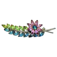 REDUCED - CROWN TRIFARI Pastel Rhinestone Flower with Leaves Pin Brooch -Rare Find