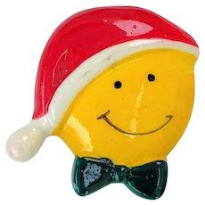 Vintage Happy Face Santa Plastic Pin