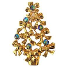 50% OFF - AVON Christmas Tree with Bows and Rhinestones Pin Brooch