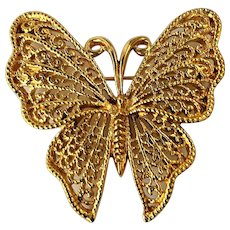 NAPIER  Goldtone Butterfly with Lacy Wings Pin Brooch