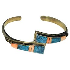 Sterling Silver  South Western  Turquoise and Coral Bracelet