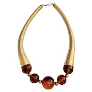 50% OFF - Goldtone Fun Design Necklace with Amber Color Beads