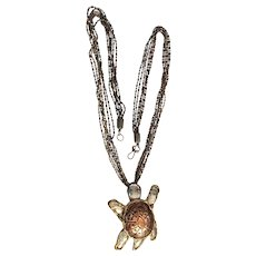 ELEGANTE  signed Turtle Necklace made with Copper,  Brass and Stainless Steel