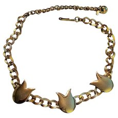 Unusual Vintage Necklace with Tulips signed TARA