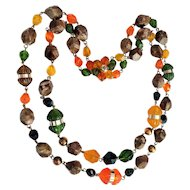 Vintage 1950's Lucite Colorful Beaded Multi Strand Necklace signed Made in Germany