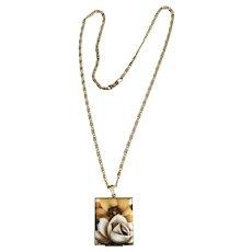 Vintage Goldtone Flower Locket Necklace with Removable Photo Frame