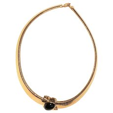 MONET signed Goldtone Necklace with Black Bead