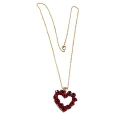 50% OFF -  Goldtone Heart Necklace with Beautiful Red Roses