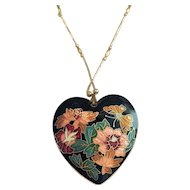Cloisonne Heart Necklace with Flowers and a Little Butterfly