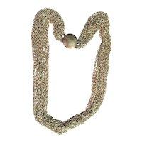 Multi Strand Silvertone Chain Necklace with Round Clasp