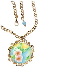 Vintage Goldtone Necklace with Pastel Color Painted Flowers on Ceramic Pendant / Pin Brooch