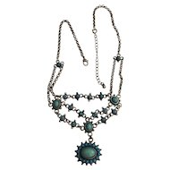 AVON - Silvertone Southwestern Design Necklace with Turquoise Colors