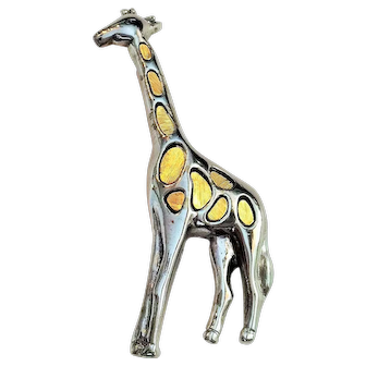 Vintage Liz Claiborne Silvertone and Goldtone Giraffe Pin Brooch