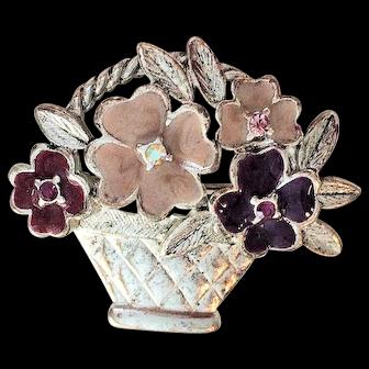 Vintage Liz Claiborne Silvertone Crystal Flowers in Basket Pin Brooch