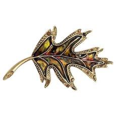 Vintage Liz Claiborne Goldtone Leaf Pin Brooch with Crystals