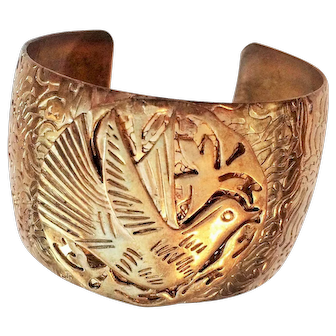 Vintage Wide Brass Cuff Bracelet with Carved Dove