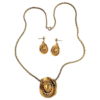 Vintage Cowboy Hat Necklace and Earring Set with Crystals