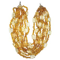 Vintage 1960's  Multi Strand Clear and Amber Color Glass Beaded Necklace