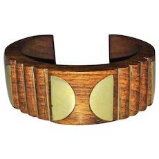 Vintage Hand Carved Stained Wood and Brass Cuff Bracelet