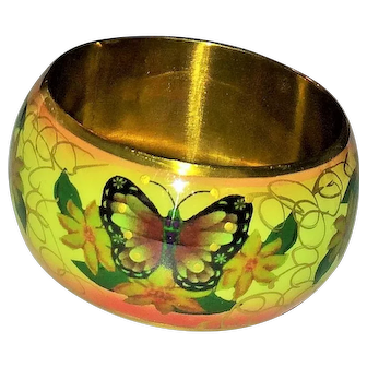 Vintage Colorful Brass Butterfly Enameled Bangle Bracelet