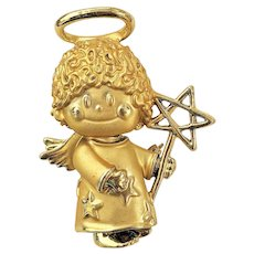 REDUCED - AJC  signed  Cute Angel Holding a Star Goldtone Pin Brooch